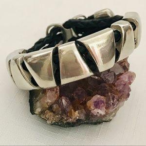 💜HP💜 Unisex / Silver & Leather Bracelet